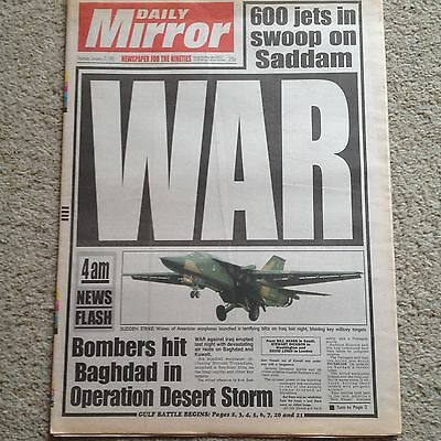 Daily Mirror newspaper 17th January 1991 Gulf War COMPLETE