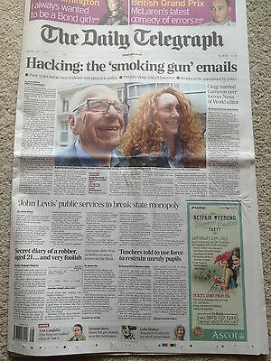 The Daily Telegraph newspaper 11th July 2011 Rupert Murdoch Hacking WHOLE