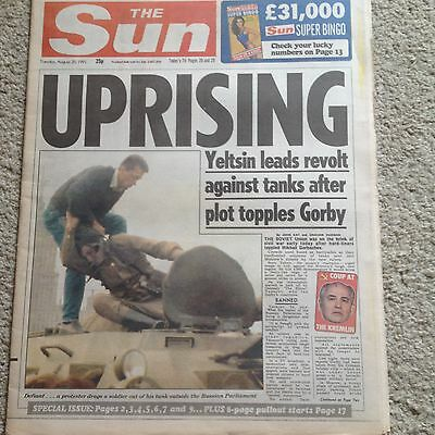 The Sun newspaper 20th August 1991 Gorbachev coup Page 3 Amanda Jane COMPLETE