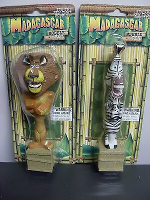 Lion&Zebra Set of 2 Madagascar Figure Bobble Head Pens