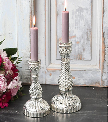 2 Mercury Candlestick Candle Holders Rustic Wedding Home Decoration