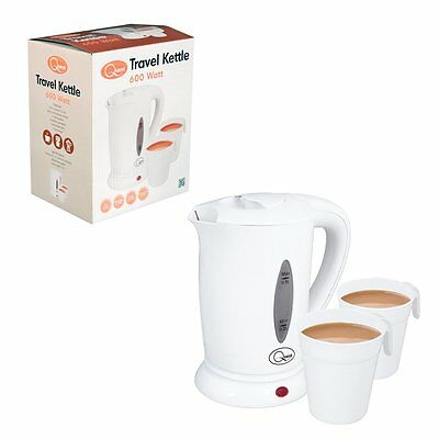 600w White Travel Kettle +2 Cups Camping Holiday Portable 0.5L Kitchen Home New