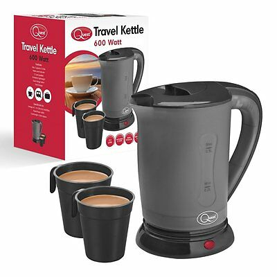 600w Grey/Black Travel Kettle +2 Cups Camping Holiday Portable 0.5L Kitchen Home