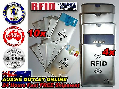 4x Passport 10x RFID Blocking ID Credit Card Protector Sleeve - Aussie Outlet On