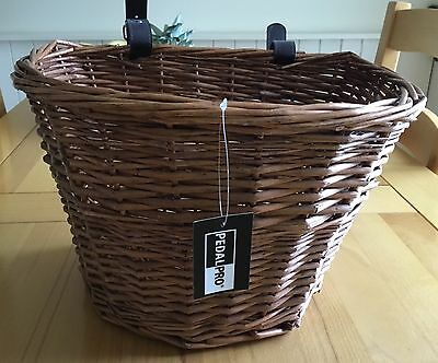 Pedalpro Wicker Bicycle Basket With Handlebar Straps Bike/cycle Shopping