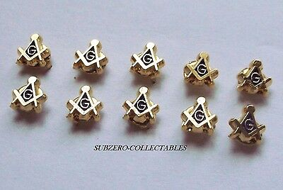( 10x ) TINY Masonic 5mm Pin Badge / Gold Plated Square & Compass G, Lapel Gift