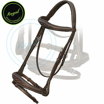 Royal Fancy Square Raised Anatomic Bridle with PP Rubber Reins, Havana, Over,SS.