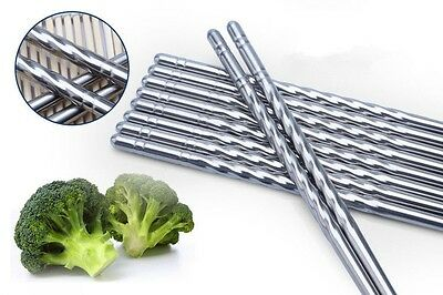 Chinese Non-slip Hollow Stainless Steel Chopsticks Chop Sticks Silver