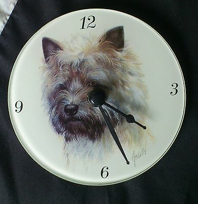 CAIRN RESCUE CHARITY Glass Clock Featuring a Cairn Terrier Dog Battery Operated