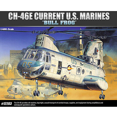 """Academy 1/48 CH-46E Current US Marine """"Bull Frog"""" Model Kit Helicopter #12283"""