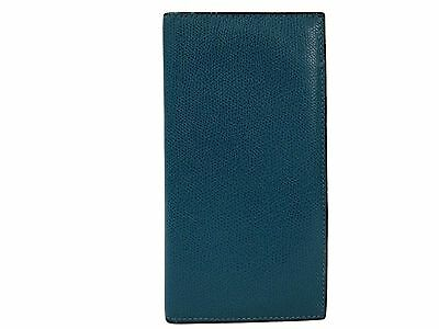 Auth Valextra Bifold Wallet Leather Blue Green (BF099518)
