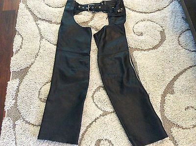 Open Road Leather Zipper Motorcycle Chaps Size Small