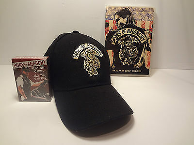 Sons of Anarchy black ball cap sealed playing cards Season 1 DVD Free Shipping