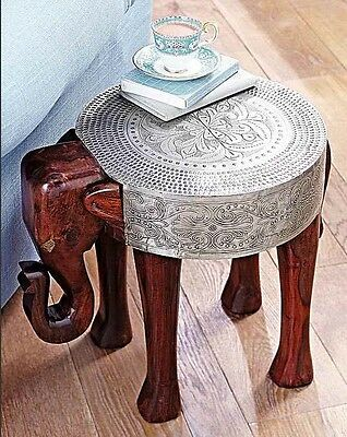 /10@ SHEESHAM AND METAL FOIL ELEPHANT TABLE Hand Carved