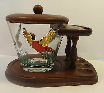 Vintage wood pipe stand with glass pheasant humidor tobacciana pipes smoking