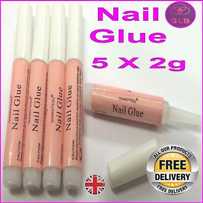 Nail Glue Clear Strong Adhesive 5X2g Acrylic False Nails Tips Art FREE DELIVERY