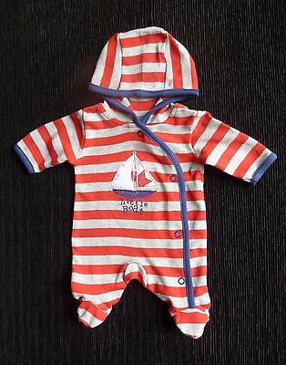 Baby clothes BOY premature/tiny<5lbs/2.3kg redgrey stripe/boat hood all-in-one