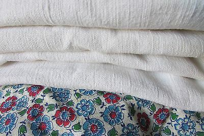 BEAUTIFUL ANTIQUE FRENCH CHANVRE SLUBBY HOMESPUN WHITE LINEN FABRIC c1880 #62