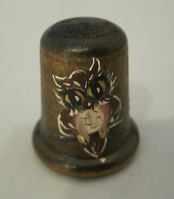 Older Thimble Hand Painted Owl on Wood Amazing Detail M10