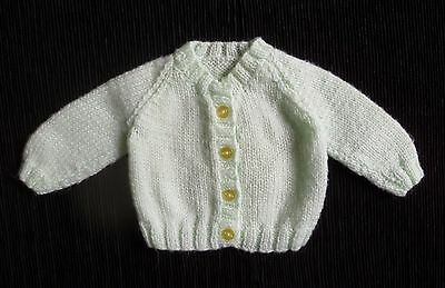 Baby clothes UNISEX GIRL BOY premature/tiny 5lbs/2.3kg soft pale green cardigan