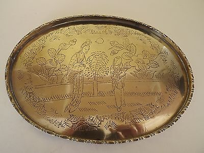 Vintage Brass Oval Tray with Engraved Japanese Figures & Flowers (63,180)