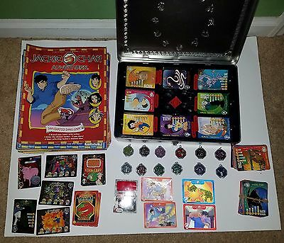 Jackie Chan Adventures Collector Set Tin 12 Talismans 150+ cards  44 mags