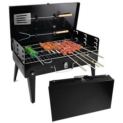 Bbq Folding Barbecue Grill Charcoal Portable Travel Picnic + Tool + Dressing Kit