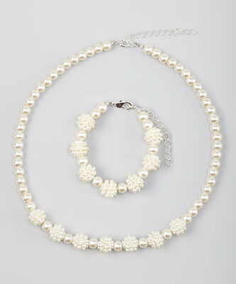 Cream simulated pearl sparkly childs necklace set