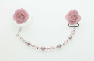 Pink Rose  Beaded Pacifier Clip