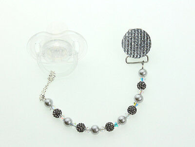 Pacifier Clip with Grey Swarovski Crystals and Pave Beads