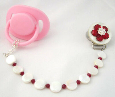 Red Flower Pacifier Clip with Stunning Mother of Pearls