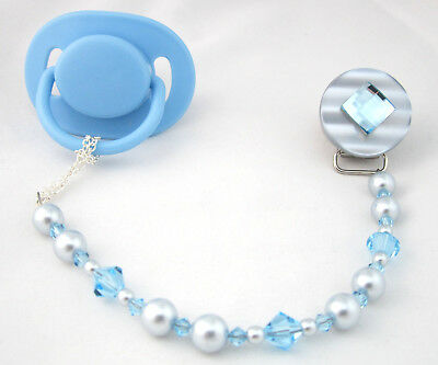 Blue Diamond Pacifier Clip with Stunning Bling Beads and Pearls