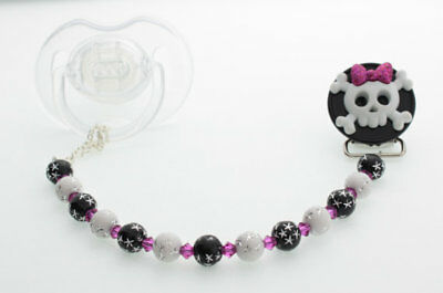 Skull with Bow Pacifier Clip