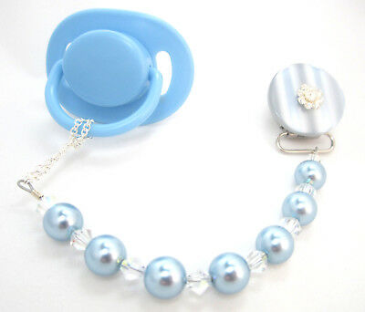 Blue Blingy Pacifier Clip with Big Pearls & Swarovski Crystals