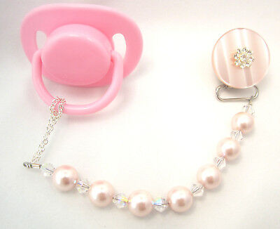 Pink Baby Pacifier Clip with Big Pearls & Swarovski Crystals