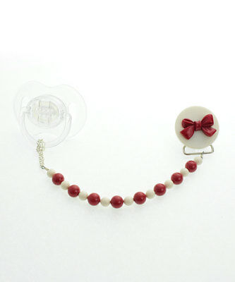 Bow Pacifier Clip with  Swarovski Red and White Pearls