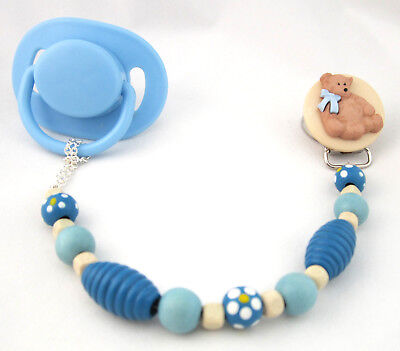 Blue Wooden Teddy Bear Pacifier Clip with Wooden Beads