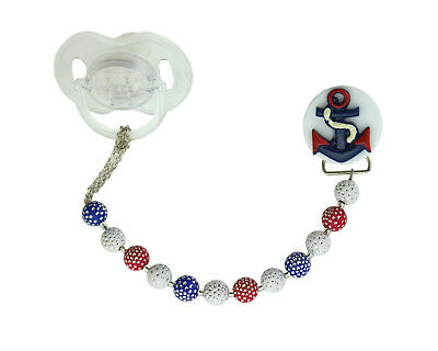 Navy Anchor with Acrylic Beads Pacifier Clip