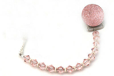 Pink Sparkly Glitter Crystal with Swarovski Crystals Baby Pacifier Clip