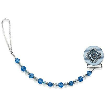 Blue Beaded Luxury Baby Pacifier Clip
