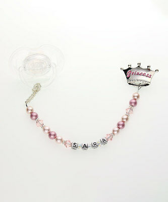 Pink Princess Personalized Pacifier Clip with Swarovski Pearls and Crystal