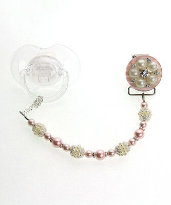 Pink Vintage Flower and Pearl Pacifier Clip