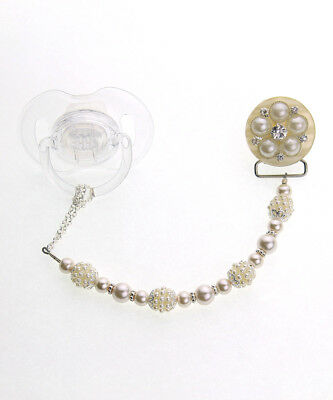 Ivory Vintage Flower and Pearl Pacifier Clip