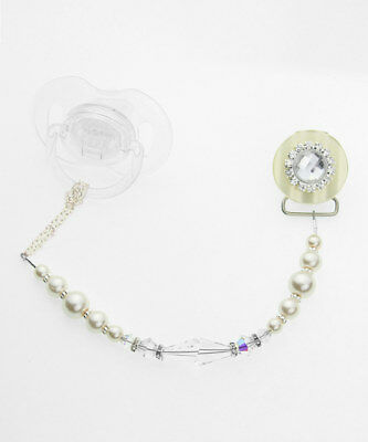Pacifier Clip with Ivory Blingy Swarovski Crystal and Pearl