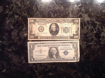 1928  $20 Federal Reserve Note - Numerical 4  + 1957B $1 Silver Certificate