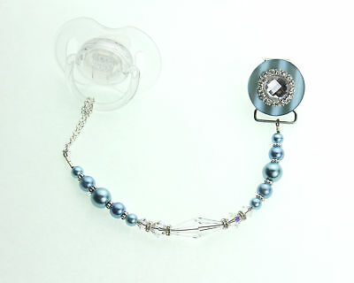 Pacifier Clip with Blue Blingy Swarovski Crystal and Pearl