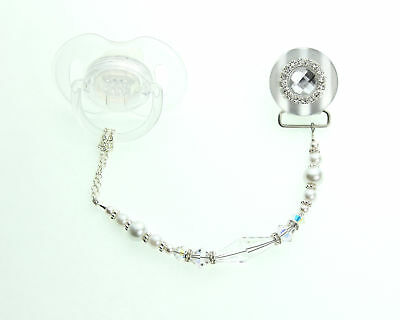 Pacifier Clip with Clear Blingy Swarovski Crystal and Pearl