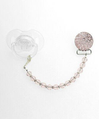 Pink Crushed Crystal Pacifier Clip with Swarovski Crystals