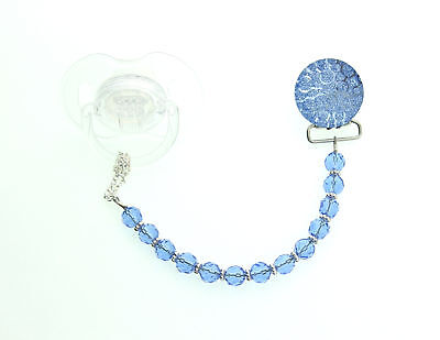 Blue Crushed Crystal Pacifier Clip with Swarovski Crystals