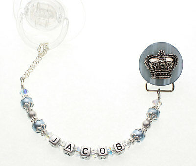 Blue Personalized Name Crown Pacifier Clip